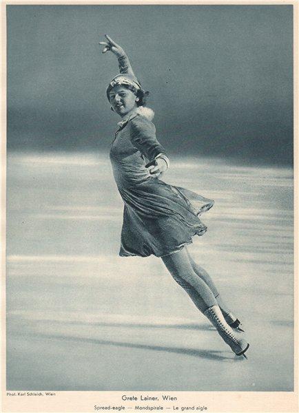 Associate Product ICE FIGURE SKATING. Grete Lainer, Wien - Spread-eagle - Mondspirale 1935 print