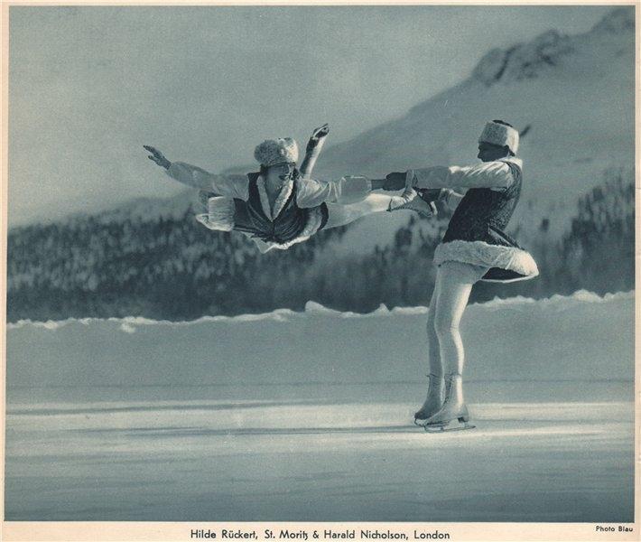Associate Product ICE FIGURE SKATING. Hilde Rückert & Harald Nicholson 1935 old vintage print