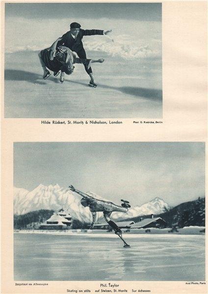 Associate Product ICE SKATING. Rückert/Nicholson. Phil Taylor, skating on stilts, St. Moritz 1935