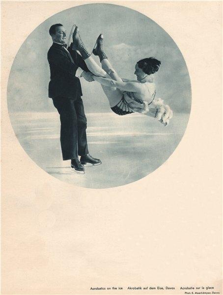 Associate Product ICE FIGURE SKATING. Acrobatics on the ice, Davos 1935 old vintage print