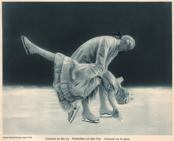 ICE FIGURE SKATING. Carnival on the ice 1935 old vintage print picture