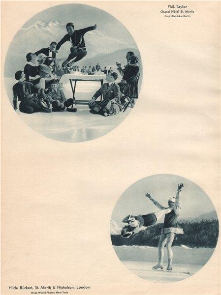 Associate Product ICE FIGURE SKATING Phil Taylor, Grand Hôtel St. Moritz. Rückert & Nicholson 1935