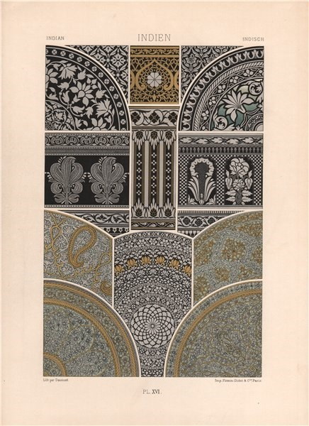 RACINET ORNEMENT POLYCHROME 16 Indian decorative arts patterns motifs c1885