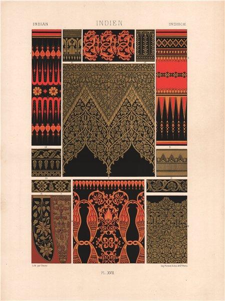 RACINET ORNEMENT POLYCHROME 17 Indian decorative arts patterns motifs c1885