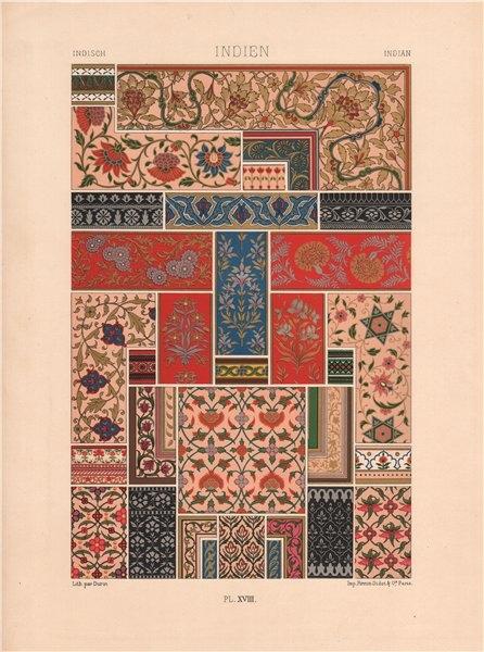 Associate Product RACINET ORNEMENT POLYCHROME 18 Indian decorative arts patterns motifs c1885