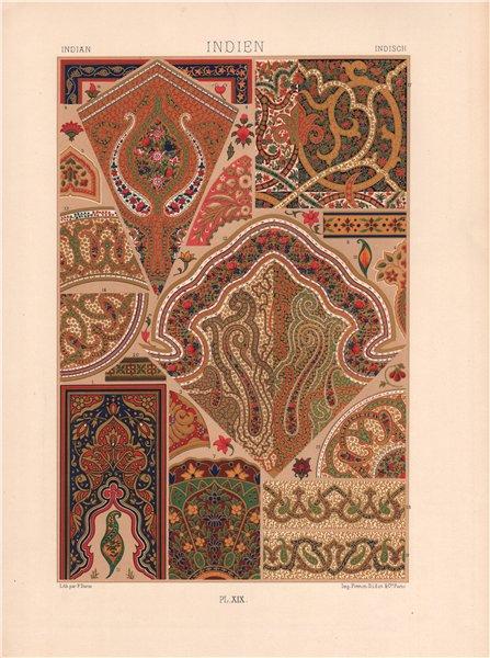 Associate Product RACINET ORNEMENT POLYCHROME 19 Indian decorative arts patterns motifs c1885