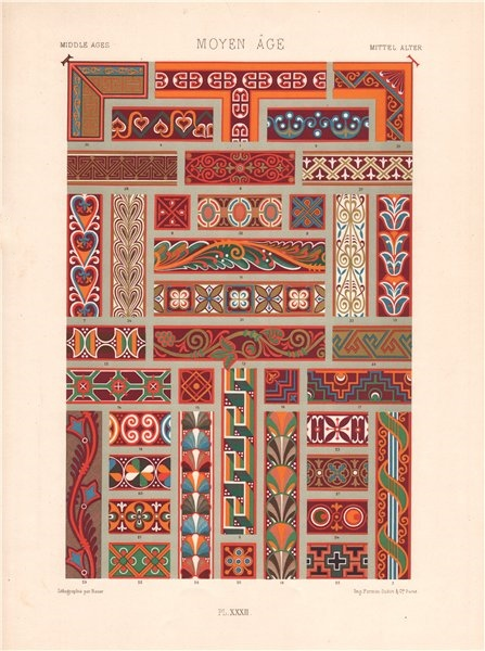 Associate Product RACINET ORNEMENT POLYCHROME 32 Medieval decorative arts patterns motifs c1885