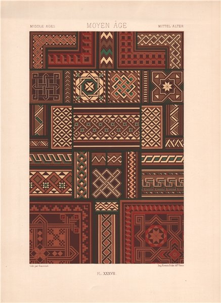 Associate Product RACINET ORNEMENT POLYCHROME 37 Medieval decorative arts patterns motifs c1885
