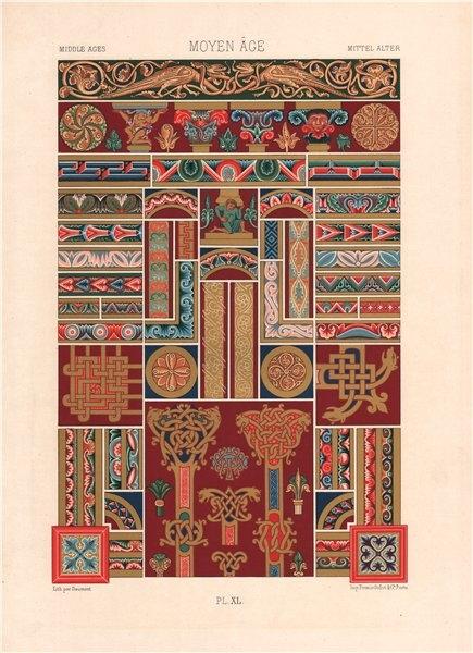 Associate Product RACINET ORNEMENT POLYCHROME 40 Medieval decorative arts patterns motifs c1885