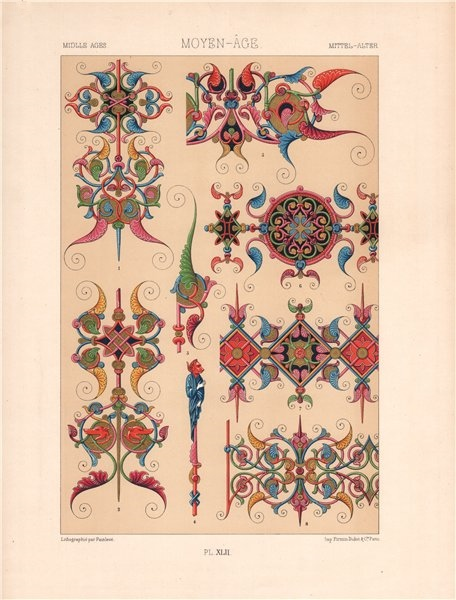 Associate Product RACINET ORNEMENT POLYCHROME 42 Medieval decorative arts patterns motifs c1885