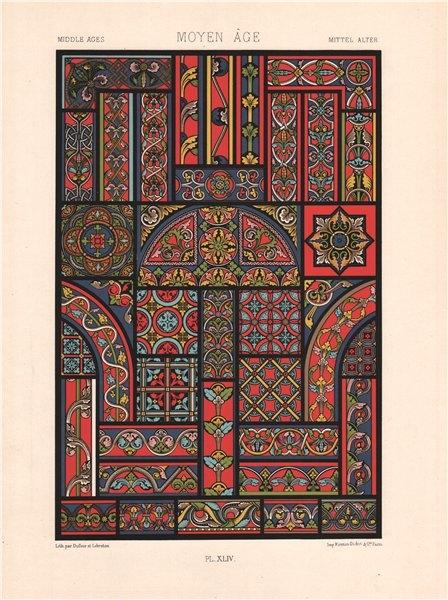 Associate Product RACINET ORNEMENT POLYCHROME 44 Medieval decorative arts patterns motifs c1885