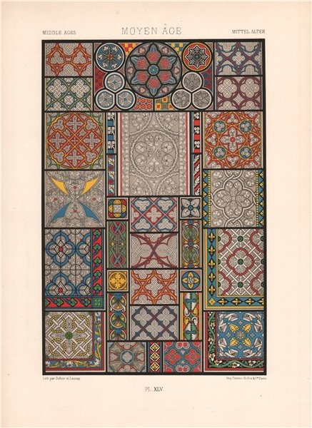 Associate Product RACINET ORNEMENT POLYCHROME 45 Medieval decorative arts patterns motifs c1885