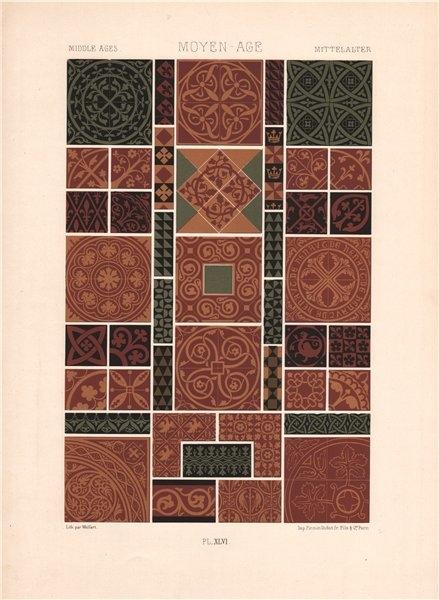 Associate Product RACINET ORNEMENT POLYCHROME 46 Medieval decorative arts patterns motifs c1885