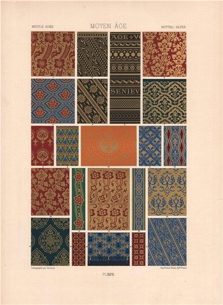 Associate Product RACINET ORNEMENT POLYCHROME 47 Medieval decorative arts patterns motifs c1885