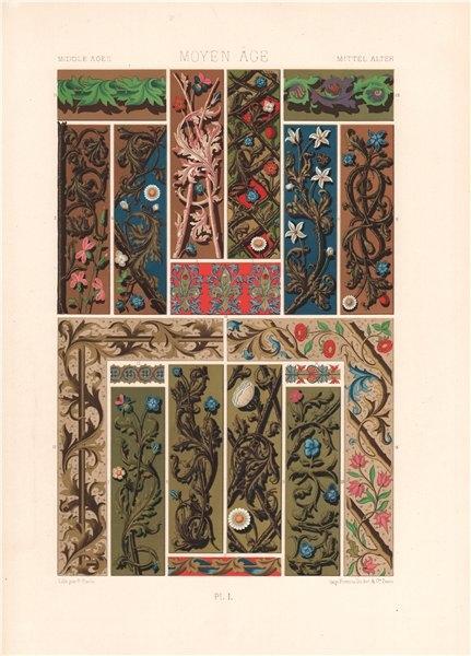 Associate Product RACINET ORNEMENT POLYCHROME 50 Medieval decorative arts patterns motifs c1885
