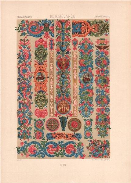Associate Product RACINET ORNEMENT POLYCHROME 52 Renaissance decorative arts patterns motifs c1885