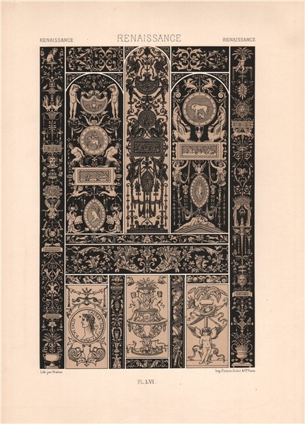 Associate Product RACINET ORNEMENT POLYCHROME 56 Renaissance decorative arts patterns motifs c1885