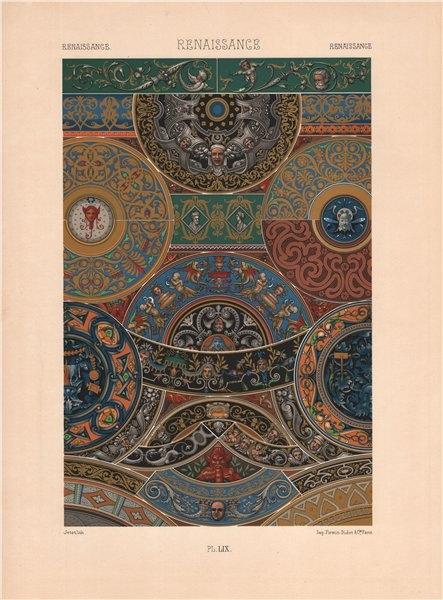 Associate Product RACINET ORNEMENT POLYCHROME 59 Renaissance decorative arts patterns motifs c1885