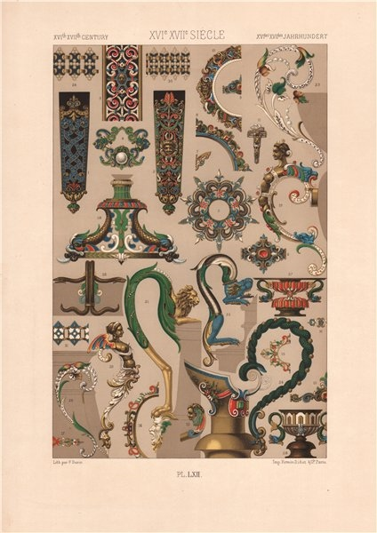 Associate Product RACINET ORNEMENT POLYCHROME 62 16th & 17th centuries arts patterns motifs c1885