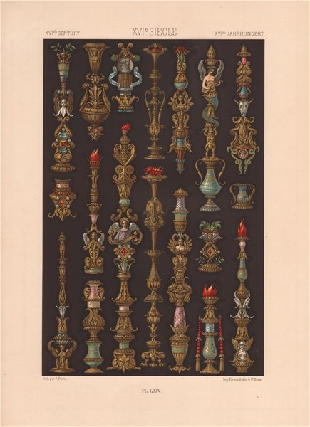 Associate Product RACINET ORNEMENT POLYCHROME 64 16th & 17th centuries arts patterns motifs c1885