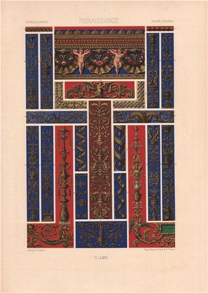 Associate Product RACINET ORNEMENT POLYCHROME 66 Renaissance decorative arts patterns motifs c1885