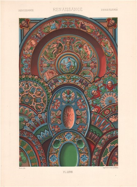 Associate Product RACINET ORNEMENT POLYCHROME 67 Renaissance decorative arts patterns motifs c1885
