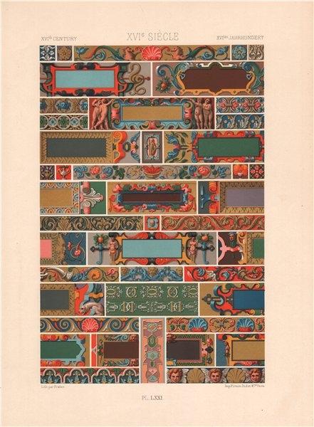 Associate Product RACINET ORNEMENT POLYCHROME 71 16th century decorative arts patterns motif c1885