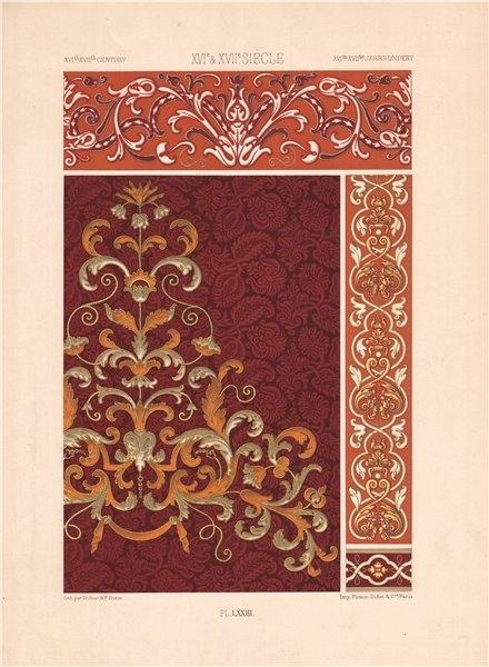 Associate Product RACINET ORNEMENT POLYCHROME 73 Late 16th/17th C Baroque art pattern motif c1885