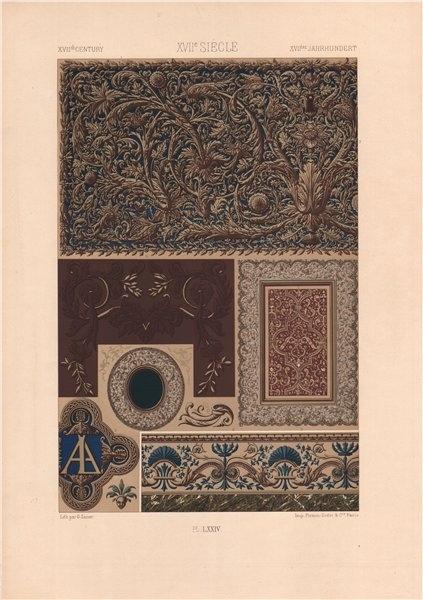 Associate Product RACINET ORNEMENT POLYCHROME 74 17th century Baroque arts patterns motifs c1885