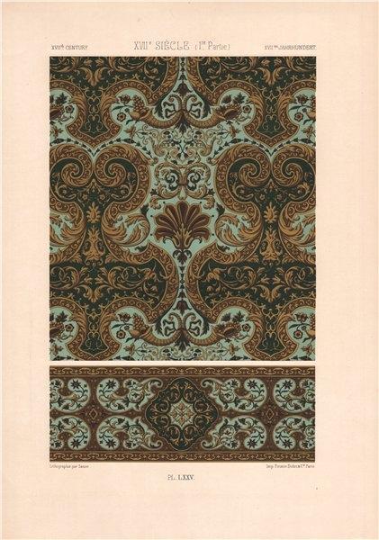 Associate Product RACINET ORNEMENT POLYCHROME 75 17th century Baroque arts patterns motifs c1885