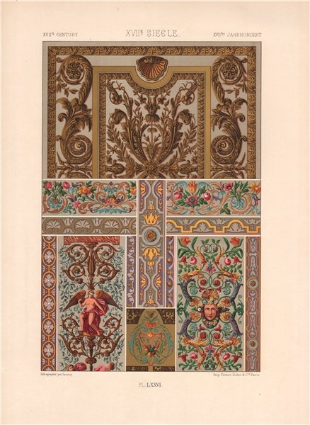 Associate Product RACINET ORNEMENT POLYCHROME 76 Early 17th century Baroque art pattern c1885