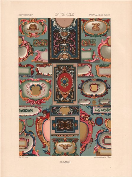 Associate Product RACINET ORNEMENT POLYCHROME 77 Early 17th century Baroque art pattern c1885