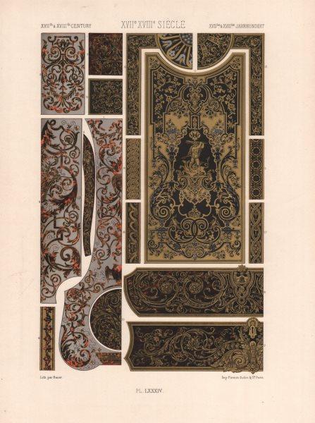 Associate Product RACINET ORNEMENT POLYCHROME 84 17th/18th century Baroque art pattern motif c1885