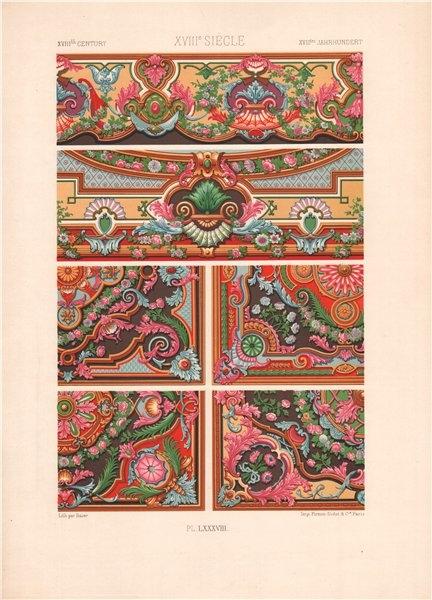 Associate Product RACINET ORNEMENT POLYCHROME 88 18th century Rococo arts patterns motifs c1885