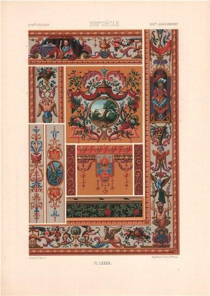 Associate Product RACINET ORNEMENT POLYCHROME 89 18th century Rococo arts patterns motifs c1885