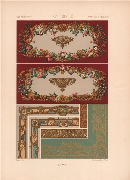 Associate Product RACINET ORNEMENT POLYCHROME 92 18th century Rococo arts patterns motifs c1885