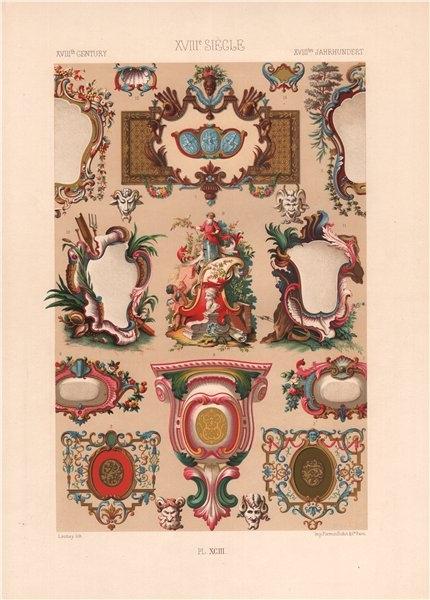 Associate Product RACINET ORNEMENT POLYCHROME 93 18th century Rococo arts patterns motifs c1885