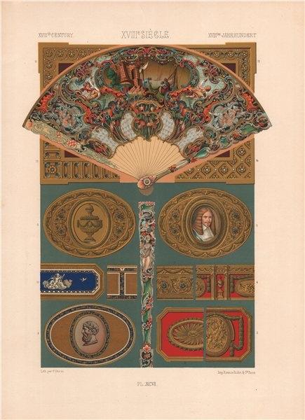 Associate Product RACINET ORNEMENT POLYCHROME 96 18th century Rococo arts patterns motifs c1885