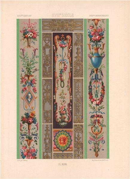 Associate Product RACINET ORNEMENT POLYCHROME 97 18th century Rococo arts patterns motifs c1885