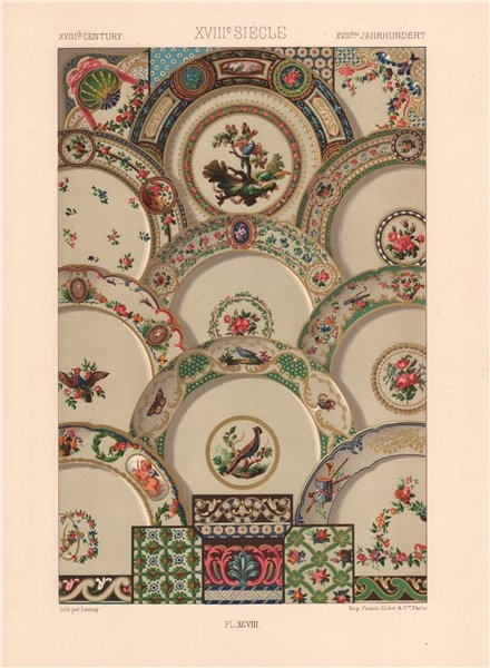 RACINET ORNEMENT POLYCHROME 98 18th century Rococo arts patterns motifs c1885