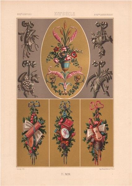 Associate Product RACINET ORNEMENT POLYCHROME 99 18th century Rococo arts patterns motifs c1885