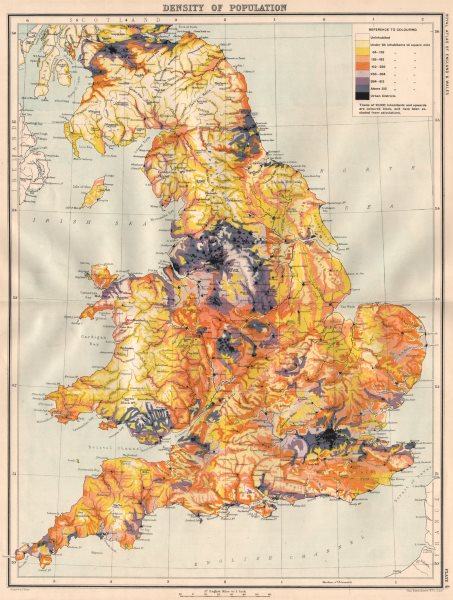 Associate Product ENGLAND & WALES Population density. Industrial areas 1898 old antique map