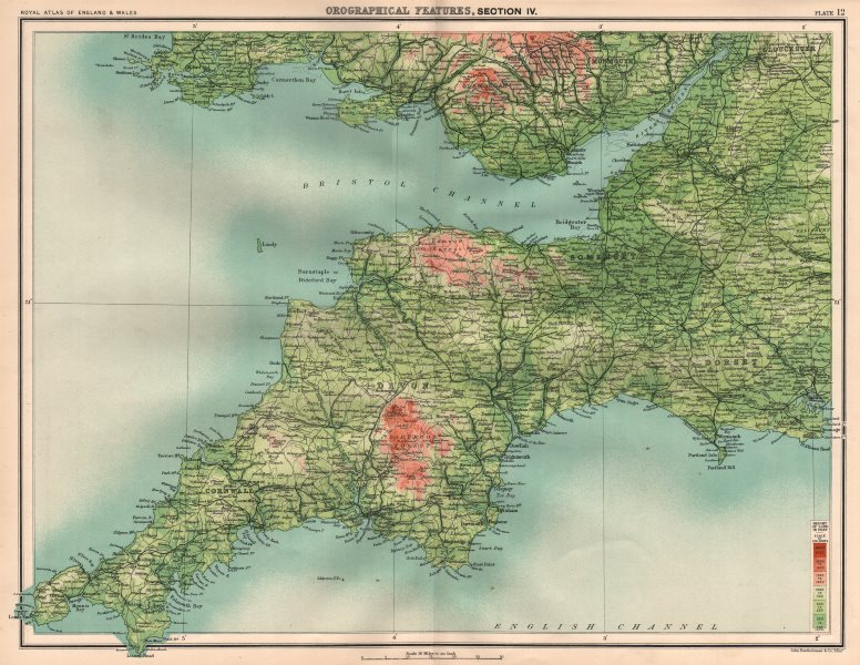 Associate Product SOUTH WEST ENGLAND/ S. WALES RELIEF. Dartmoor Exmoor. The Valleys 1898 old map