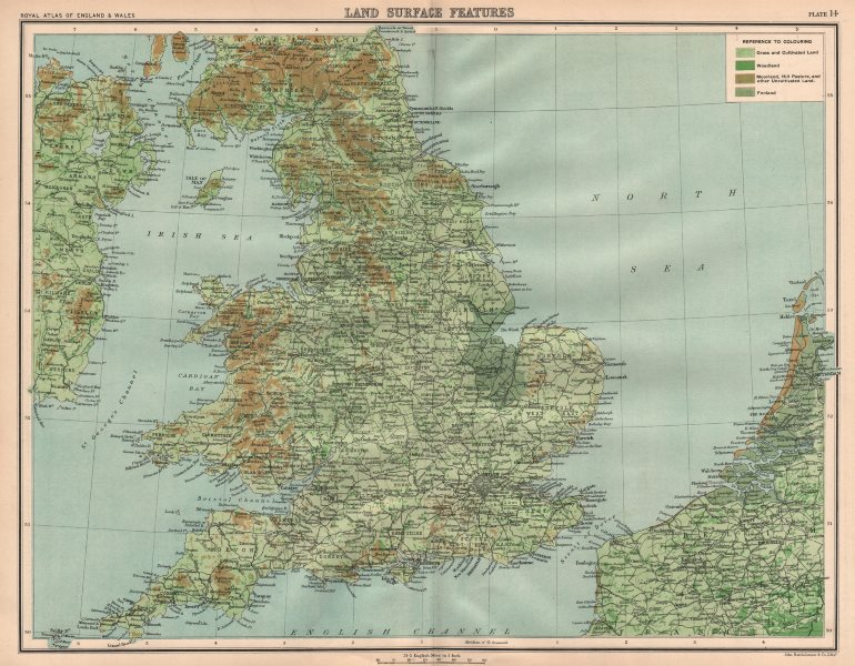 Associate Product ENGLAND & WALES surface features. Grassland moorland fenland woodland 1898 map