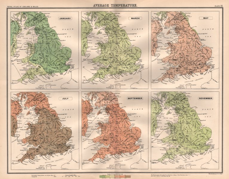 Associate Product ENGLAND & WALES average temperature. January March May July Sept Nov 1898 map
