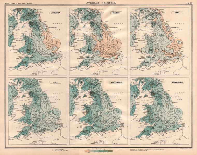 Associate Product ENGLAND & WALES average rainfall. January March May July Sept Nov 1898 old map
