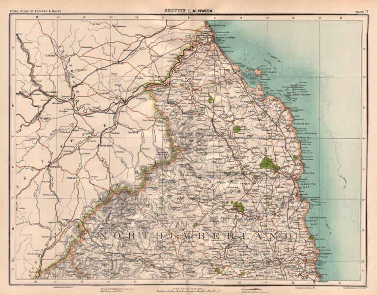Associate Product NORTHUMBERLAND. Cheviot Hills. Kielder Forest. Berwick Alnwick Blyth 1898 map