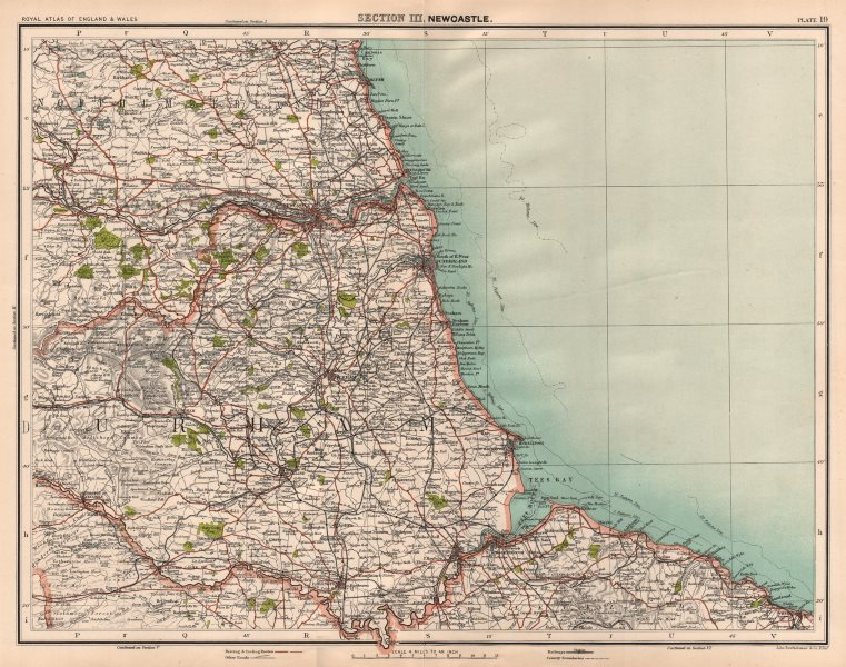 Associate Product COUNTY DURHAM. Tyneside Teeside North Pennines Newcastle Middlesbrough 1898 map