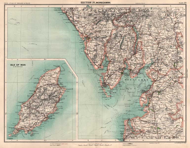 Associate Product LAKE DISTRICT SOUTH & ISLE OF MAN. Morecambe Bay Blackpool Windermere 1898 map