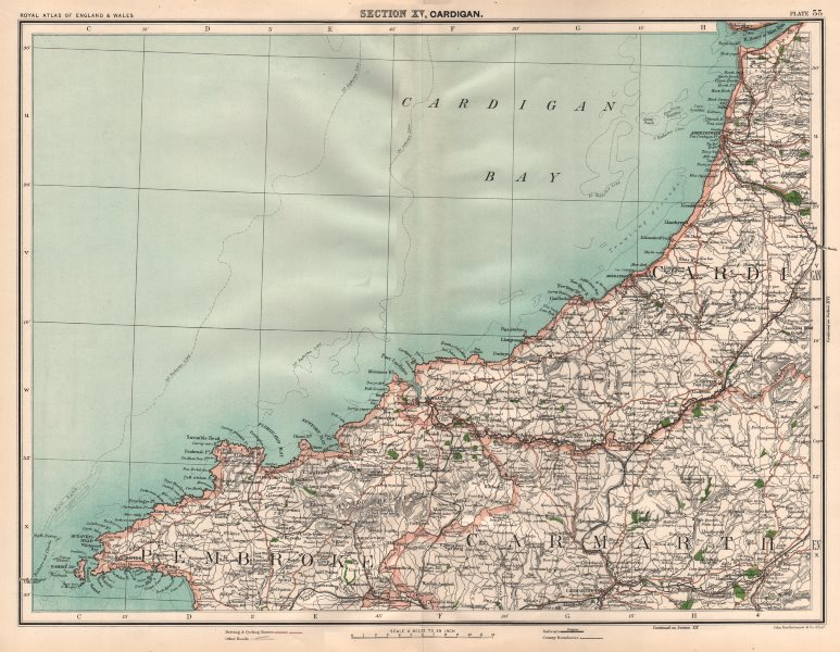 Associate Product CARDIGAN BAY SOUTH Pembrokeshire coast Aberystwyth Aberdovey St David's 1898 map